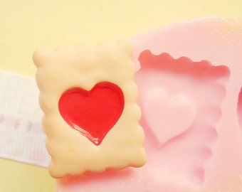 25mm Heart Biscuit Cookie Flexible Silicone Mold Stampi Decoden Kawaii Sweets Resin Fimo Polymer Clay Sculpey Wax Soap Charm Cabochon