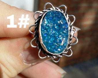 Blue titanium druzy, silver rings, 5 styles to choose from.