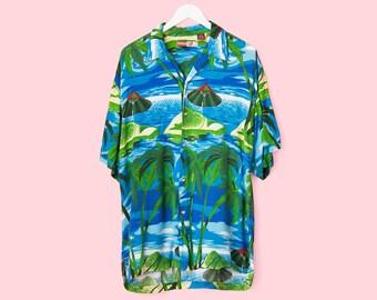 Vintage 90s Tropical Hawaiian Summer Button Down Shirt - Men's Large