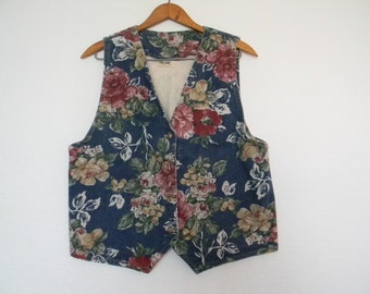 FREE usa SHIPPING Vintage Apparel women's floral denim  bohemian hipster button up sleeveless vest revival size M