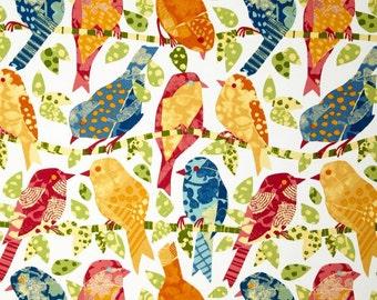 "OUTDOOR 1 Pair Custom Drape Curtain Panels Either Flat Rod Pocket OR Grommets in Richloom Ash Hill Garden Bird Print  50""W x Selected Length"