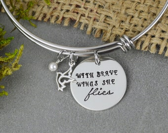 With Brave Wings She Flies Adjustable Bangle Bracelet with Dove Charm - Stacking Bangle