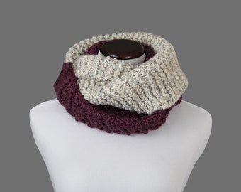 Two-Tone Cream/Purple Infinity Scarf