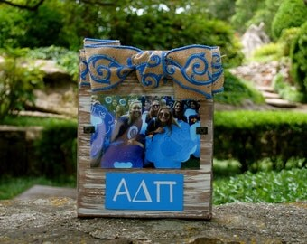 Alpha Delta Pi Whitewashed Rustic Frame with Greek Letters