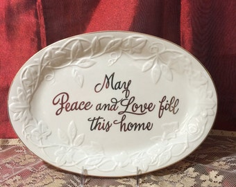 """Lenox Platter Eternal Entertaining  """"May Peace And Love Fill This Home"""" 10"""""""