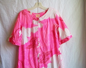 """Vintage pink and white Hawaiian dress by Reef, 32"""" chest, size XS"""