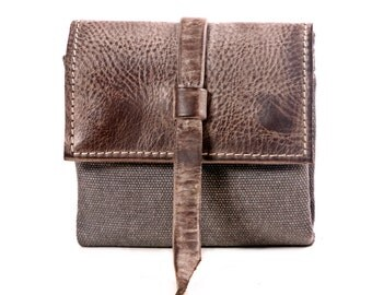 Canvas and faded Leather billfold wallet with card slots Travel Wallet - hold passports, cash and cards-small size