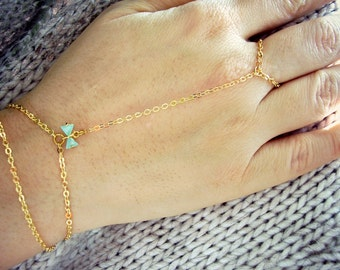 Gold slave ring bracelet with sky blue cubic zirconia ribbon Gold hand chain Hand flower Boho ring bracelet Bohemian jewelry  Ring to wrist