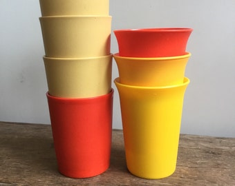 Variety of Tupperware Tumblers Harvest Gold Orange Yellow Cups