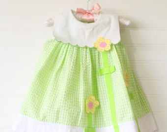 Vintage baby dress, green and white gingham with flower detailing, Youngland sz 12 mo WITH bloomers