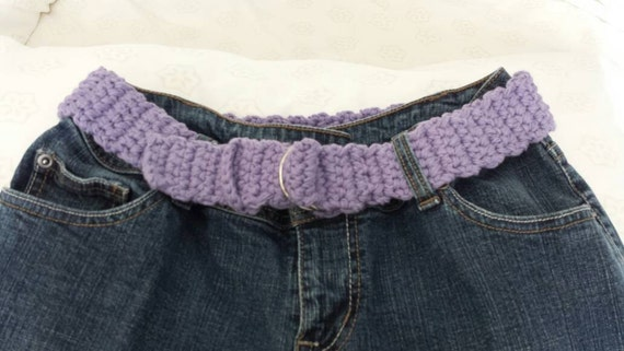 Flirty Fuchsia Or Lovely Lavender Soft Textured Crochet Cotton Belt For Women Ladies Is Handmade Great stocking stuffer