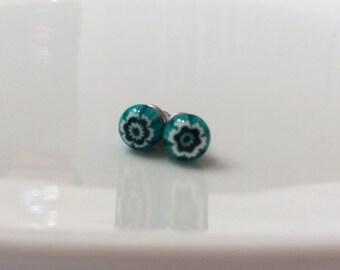 Venetian glass millefiori stud earrings jade sea green and white flower