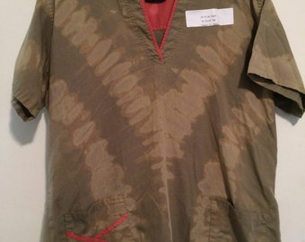 "Size XL olive reverse tie dye medical scrub top. V. ""Camo"" colors."