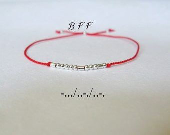 BFF Morse Code Bracelet-Minimalist Jewelry-Secret message friendship bracelet-Stacking bracelet-Sterling Silver Silk thread Bracelet