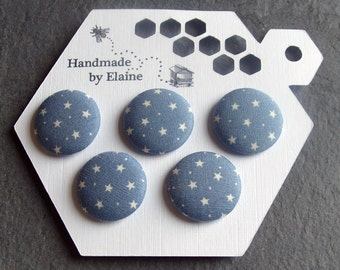 Fabric Covered Buttons - 5 x 22mm Buttons, Handmade Button,Dusky Arctic Bluebell Denim Periwinkle Sky Slate Blue White Star Dot Buttons 2615