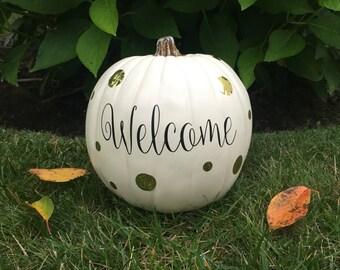 Welcome vinyl decal, pumpkin decal, Halloween, Fall, DIY decal, USNA