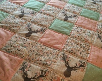 Modern Woodland Patchwork blanket - quilt, Baby, Toddler, Adult - fawn, deer, nursery, mix and match, custom