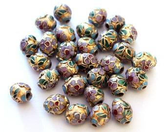 6x Vintage Cloisonné Beads w/ Gilt Gold Surface - B054