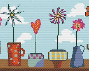 Flower Pots Cross Stitch Pattern PDF ** Instant Download **