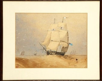 M HEMSLEY - antique nautical watercolour painting - c1857 - framed