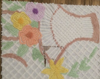 Vintage Chenille cutter , White with floral and basket detail , super soft cotton Chenille