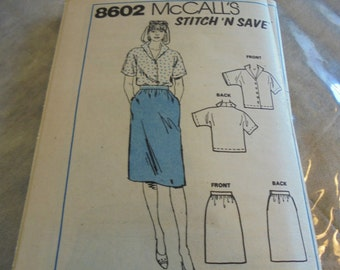 MCCALLS 8602  Sewing Pattern Pencil Skirt Button Front Top   U Select Size