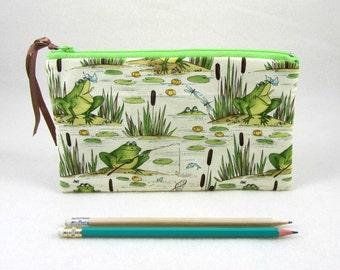 Caja de lápiz de rana, bolsa de la cremallera, portalápices, caso de gadget de rana, útiles escolares, bolso pequeño maquillaje