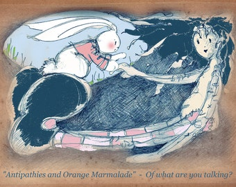 Alice in Wonderland and the White Rabbit:  Dazed and Confused?  print from an original drawing by Annie Taylor