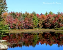 Southern Maine pond, fall leaves, 8x10 landscape photo, reflections in water, scenic New England, country home decor, fine art print, autumn