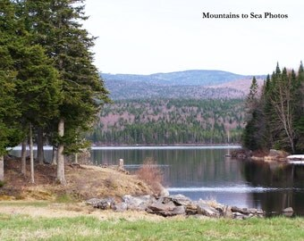 New Hampshire, 8x10 landscape photo, peaceful lake photo, scenic mountain view, country home decor, New England spring, fine art print