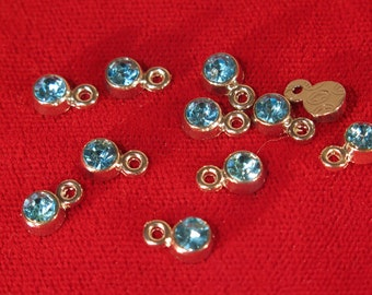 "BULK! 50pc 5mm ""aquamarine"" color charms in antique silver style (BC1109B)"
