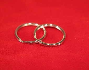 BULK! 100pc silver split key rings for 1 inch key fob hardware (25mm)