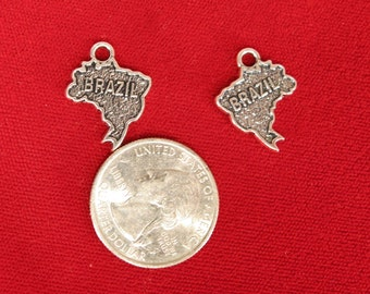 "10pc ""Brazil"" charms in antique silver (BC962)"