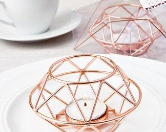 Geometric Rose Gold Tea-light Candle Holder Votive for Wedding Decor