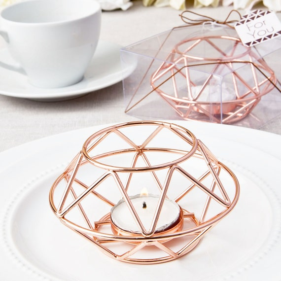 Geometric Rose Gold Tea Light Candle Holder Votive For Wedding