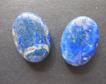 2 oval lapis lazuli 25x18x6mm buttons