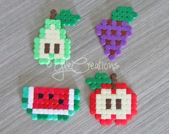PIXEL ART fruit set hama beads perler party favor gifts
