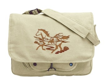 Wild Horse Silhouette Scene Embroidered Canvas Messenger Bag