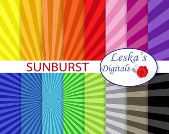Sunburst digital scrapbook paper, sun ray patterned paper, sun ray backgrounds, sunburst digital download in rainbow colors