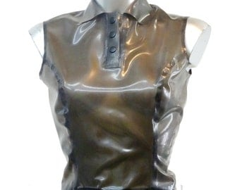 Sleeveless Polo Top in translucent latex
