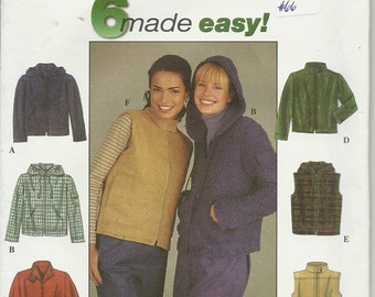 Simplicity 8936  Misses  Jacket or Vest    Size 14,16,18,20   Uncut