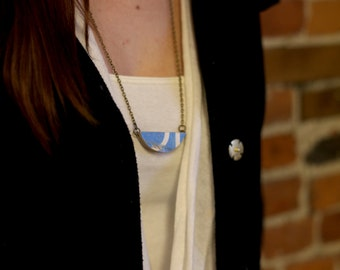 Lafayette Pendant | Recycled Skateboard Necklace | Blue Necklace | Wood Necklace