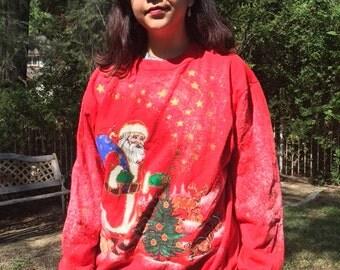 Ugly Christmas sweatshirt, red pullover, sweatshirt, large, Santa Claus