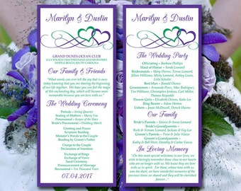 "Heart Program Template Instant Download - Printable Wedding Program ""Entwined Hearts"" Regency Kelly Green Ceremony Program DIY Wedding"
