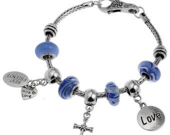 50% SALE Best Friends Love Cross European Charm Bracelet By eArt + Gift Box Free Shipping Worldwide #PANBRC-33
