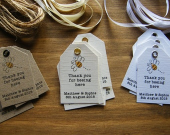 Personalised Wedding Favour 'Thank you for beeing here' Tags -Vintage -Honey Jar