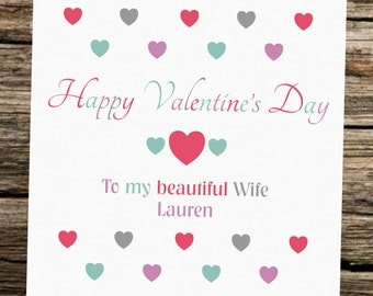 Personalised Valentine's Day Card ~ Wife ~ Hearts