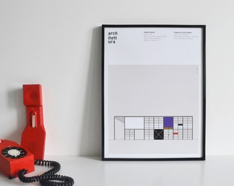 Graphic poster printed architecture theme - eames house