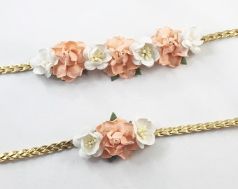 Mommy and Me Headband, peach Headband, Peach and gold Headband, Peach birthday headband Gold Headband, Peach Flower Headband, Cream headband