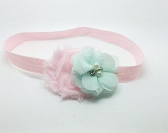 Mint and pink Headband, mint Headband, Pink Headband, Pink Flower girl headband, Pink birthday headband, Mint Flower Headband, pink clip